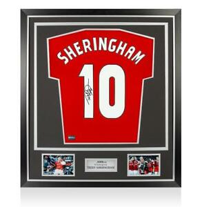 Teddy Sheringham Back Signed Manchester United Home Shirt In Classic Frame