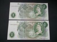 PAIR CONSECUTIVE 1963 HOLLOM £1 NOTES UNCIRCULATED GOEBEL MACHINE DUGGLEBY B292