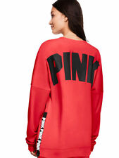 VICTORIAS SECRET PINK VARSITY SIDE ZIP CREW HOT POPPY SIZE L NIP
