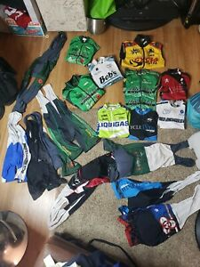 LOT OF 19 Cycling JERSEY BIBS Padded Compression Shorts LONG SLEEVE SZ SM MENS