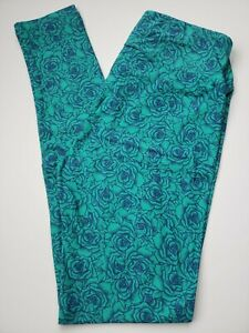Lularoe Roses OS Leggings Navy Floral on Green Vintage UNICORN New without tags!