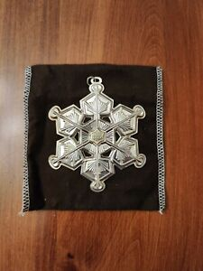 GORHAM STERLING SILVER 1987 SNOWFLAKE CHRISTMAS ORNAMENT GOLD FILLED YEAR