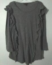 Ladies BANANA REPUBLIC Long Sleeve Ruffled T-Top in Gray Size XL