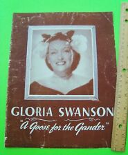 1945 GLORIA SWANSON in A GOOSE FOR THE GANDER PRESS BOOK Broadway Play Program