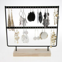 2Layer Wood Earring Display Stand Holder Jewelry Necklace Hanging Rack Organizer