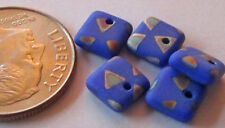 25 Czech Glass 6mm Purple-Blue Peacock Square Rondelle Beads w/Vitrail Triangles