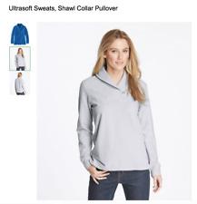 L.L. Bean Shawl Collar Pullover Ultrasoft Sweats Sweatshirt Terry Gray M Petite