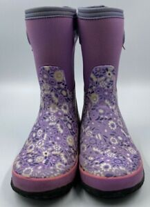Bogs Youth K Grasp Ditsy Violet Floral Rain Snow Outdoor Gardening Boot Sz US 5