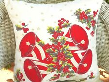 "17"" Vintage Wilendur Cotton Christmas Tablecloth Fabric KNIFE-EDGED PILLOW"