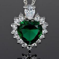 Xmas Fashion Jewelry Gift Heart Cut Green Emerald White Gold Gp Pendant Necklace