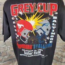 Vtg 1995 Grey Cup Baltimore Stallions Calgary Stampeders TShirt CFL Black XL