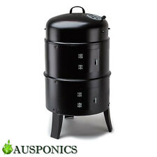 3-IN-1 PORTABLE CHARCOAL SMOKER BBQ Roasting Grill For Backyard/Camping
