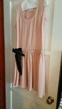 Women's RED VALENTINO Pink Dress with Black waist tie, size Large FREE SHIPPING