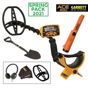 """SPRING PACK METAL DETECTOR ACE 400i GARRETT PIASTRA 11"""" PALA PINPOINTER PROPOINT"""