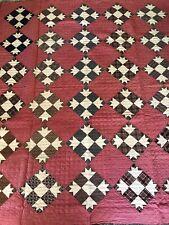 Antique Turkey Red Madder Brown Black Grey Hand Pieced & Quilted Full Quilt