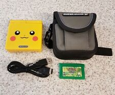 POKEMON PIKACHU NINTENDO GAME BOY SP BUNDLED WITH CARRY CASE AND POKEMON GREEN