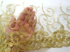 """Golden Corded Embroidered Lace Trim with White tulle /Sewing/Bridal/ 8.5"""" Wide"""