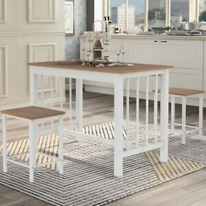1 Dining Table and 2 Chairs, 2 Seater Dining Room Set Wooden Table Steel Frame
