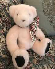 "Collectible 14"" 1992 GUND Teddy Bear Plush Pink VICTORIAS SECRET Floral Bow #N1"
