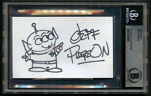 Jeff Pidgeon signed autograph 3x5 index card w Original Pixar Sketch BAS Slabbed