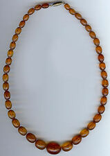 VINTAGE GRADUATING SIZE HONEY AMBER FACETED BEADS NECKLACE