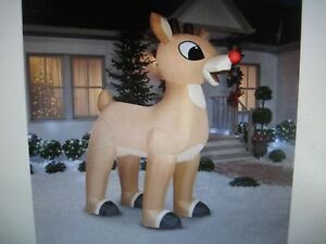 NEW 10' Lighted Rudolph The Red Nosed Reindeer Holiday Airblown Inflatable Gemmy