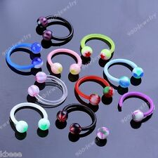 10pcs 16g Mix UV Colorful Round Ball Barbell Nose Hoop Rings Body Piercing Punk