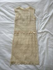 Vintage White Cream Ivory Floral Lace Crochet Silk Prom Wedding Satin Sun Dress