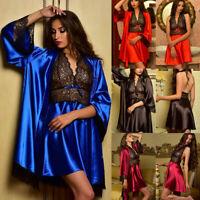 Set Satin Gown Sexy Robe Babydoll Silk Lingerie Lace Women Nightdress Sleepwear