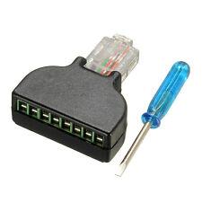 RJ45 Adaptador Crimp Conector - AV 8 Pines Terminal Bloque CCTV LAN Convertidor