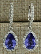 4.50Ct Pear Cut Tanzanite Diamond Drop & Dangle Earrings 14K White Gold Finish