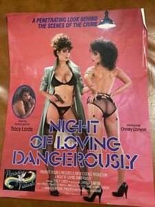 Vintage Tracy Lords Night Of Loving Dangerously Porn Movie 1980s Poster Flyer