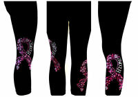 Reg Capri Legging Rhinestone Embellished Pink Floral Breast Cancer Hope Ribbon