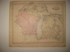 ANTIQUE 1866 MICHIGAN WISCONSIN MAP NORTHERN PENINSULA RAILROAD LAKE SUPERIOR NR