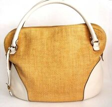 Salvatore Ferragamo White tan Gold Hand Bag/Shoulder Purse Bag Boho Satchel