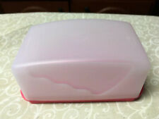 TUPPERWARE Impressions Butter Dish SeRver Cover-Red- Holds  4 Sticks-1 Lb New