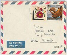 Rhinoceros ANIMALS FLOWERS -- BURUNDI -  POSTAL HISTORY -   COVER to ITALY