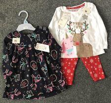 Bnwt Next Baby Girl 3-6 6-9 18-24 mois coton Noël Noël Rouge//Bordeaux Robe