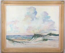 VTG Original Oil Painting On Canvas Framed Seascape Bird Signed Art Fran Hancock