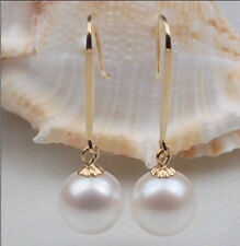 PERFECT ROUND AAA SOUTH SEA GENUINE 11MM WHITE LOOSE PEARL EARRING 14K SETTING