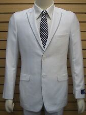 Men's White Slim Fit Dress Suit SIZE 44L NEW