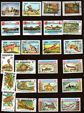 KAMPUCHEA( Cambodge) 24 timbres  oblitérés: Poissons,animaux, divers  7T6
