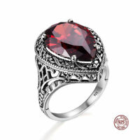 925 Sterling Silver Rings Garnet Crystal Ring Jewelry for Women Men Wedding Red