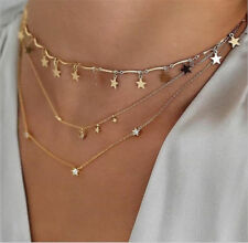 Crystal Crescent Moon Star Pendant Necklace Multi Layer Chokers Women Jewelry