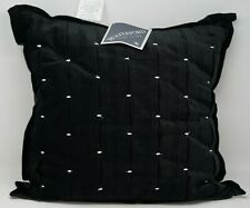 "Waterford Fine Linens Lisette 18"" Square Cotton Blend Decorative Pillow - Black"