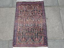 Old Traditional Persian Rug Oriental Hand Made Wool Pink Grey Small Rug 82x55cm