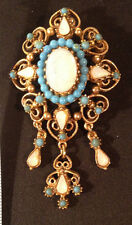 Florenza Brooch Faux Opal Cabachons  Turquoise Glass