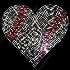 "Rhinestone Transfer "" Crystal Baseball Heart ""  Hotfix , Iron On, Bling, Mom"