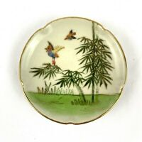 "Antique Chinese Asian Handpainted Plate 4"" Scalloped Gold Trim Decorator Birds"