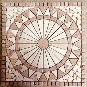 NATURAL STONE MOSAIC DECORATIVE FLOOR PANELS Travertine And Marble 34x34cm